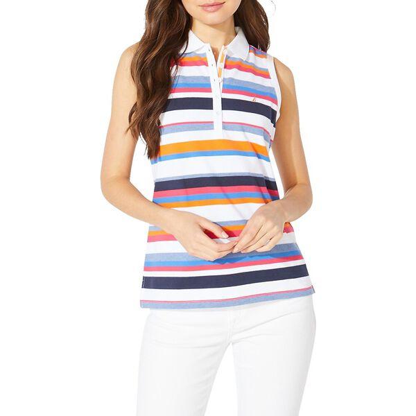 Bay Stripe Polo Vest Cotton Blend Knit Top Multi, Bright White, hi-res