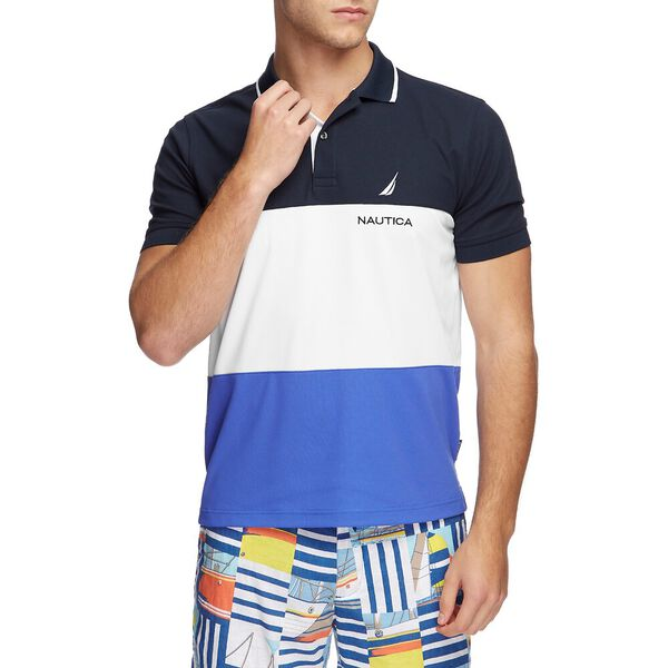 NAVTECH COLORBLOCK POLO, NAVY, hi-res