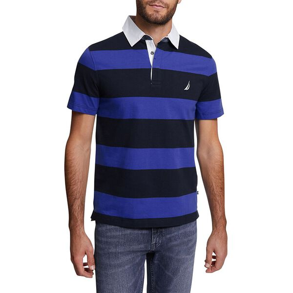 YARN DYED STRIPE POLO, NAVY, hi-res