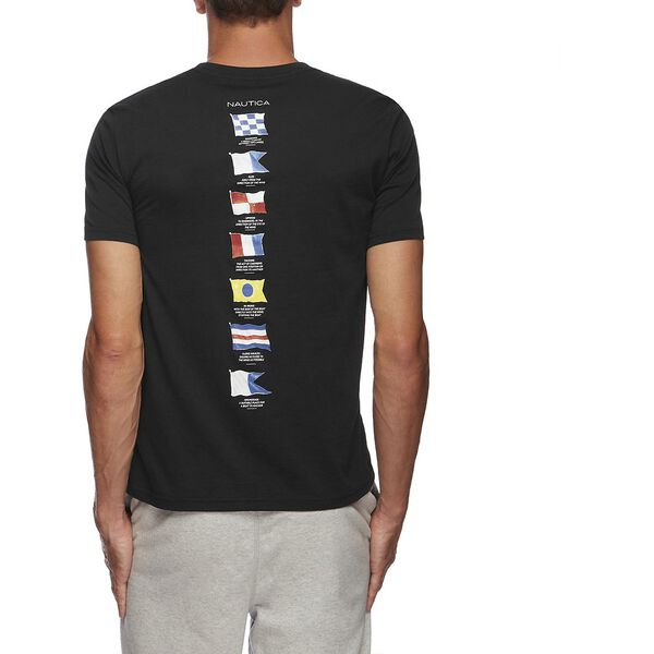Short Sleeve Anchor Flag Graphic T-Shirt, True Black, hi-res