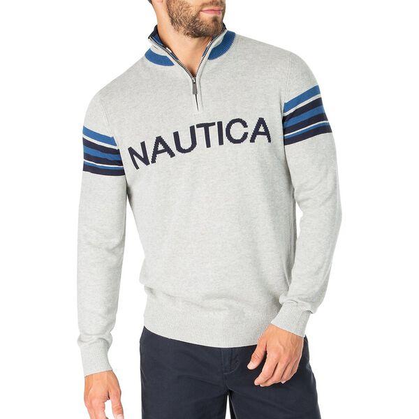 Nautica 1/4 Zip Heritage Sweater, Grey Heather, hi-res