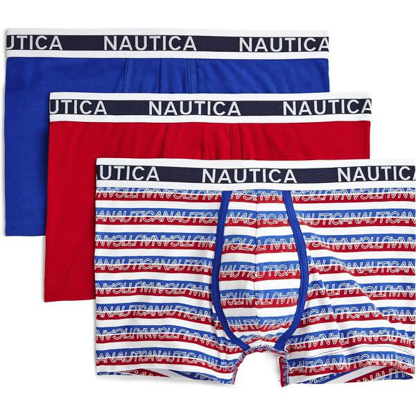 Nautica Mens 3 Pack Cotton Nautical Boxer Brief, Multi, hi-res