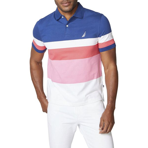 Classic Fit Weekend Splice Stripe Polo, Estate Blue, hi-res