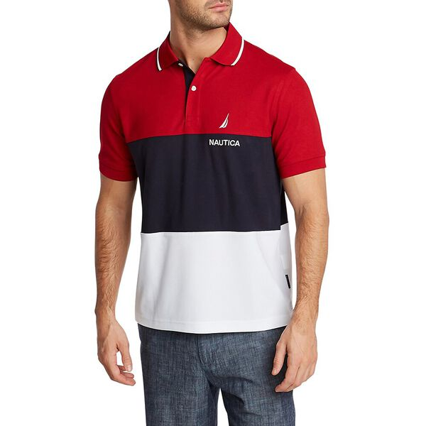 NAVTECH COLORBLOCK POLO, NAUTICA RED, hi-res