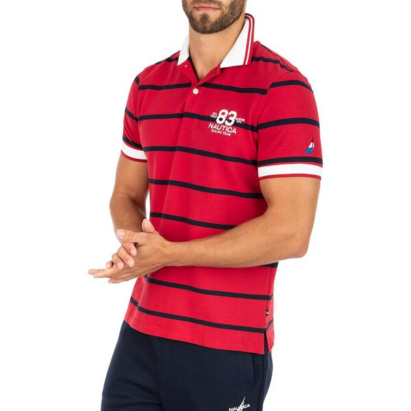 Slim Fit Harvard Stripe Polo, Nautica Red, hi-res