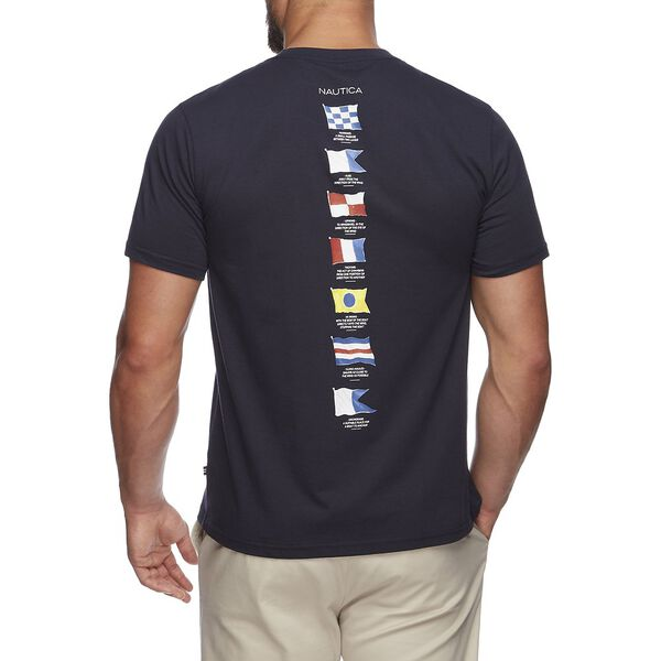 Short Sleeve Anchor Flag Graphic T-Shirt, Navy, hi-res