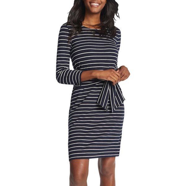 STRIPE TIE WAIST SOFT KNIT DRESS