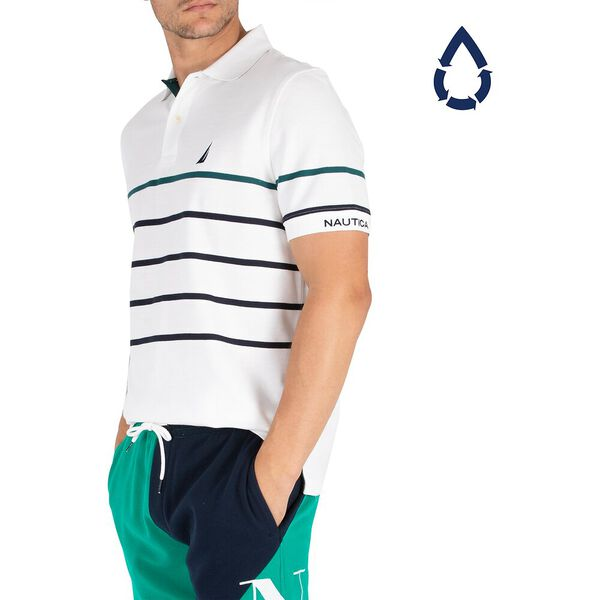 Sustainably Crafted Colour Stripe Polo, Bright White, hi-res