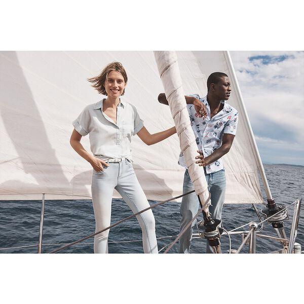 Classic Fit Nautica Jeans Co. Print Shirt, Bright White, hi-res