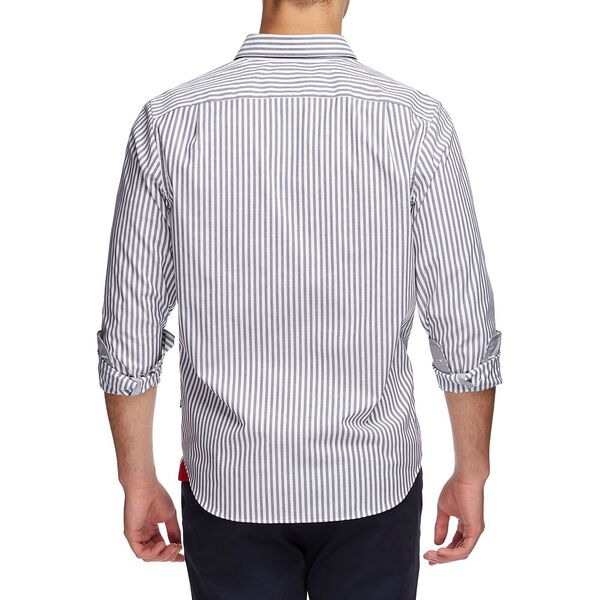 Wrinkle Resistant Pyjama Stripe Long Sleeve Shirt, Just Navy, hi-res