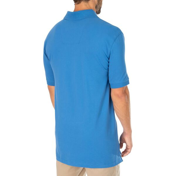 Big & Tall Stretch Mesh Polo, Windsurf Blue, hi-res
