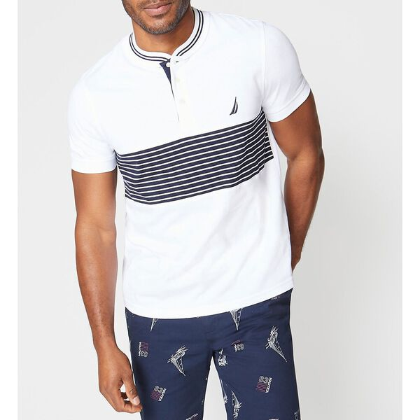 Slim Fit Stripe Henley Tee, Bright White, hi-res