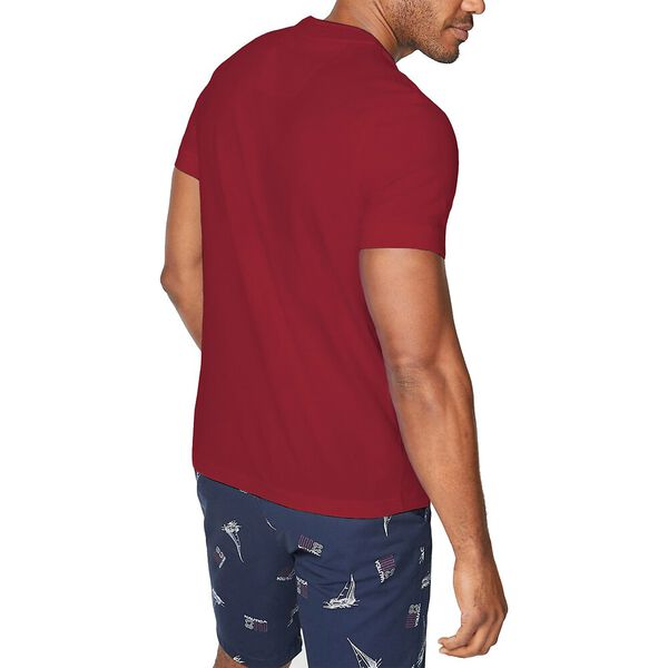 Slim Fit Stripe Henley Tee, Nautica Red, hi-res