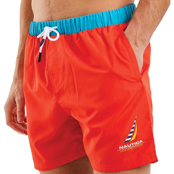 Nautica Competition Waveson Swim Shorts, Red, hi-res