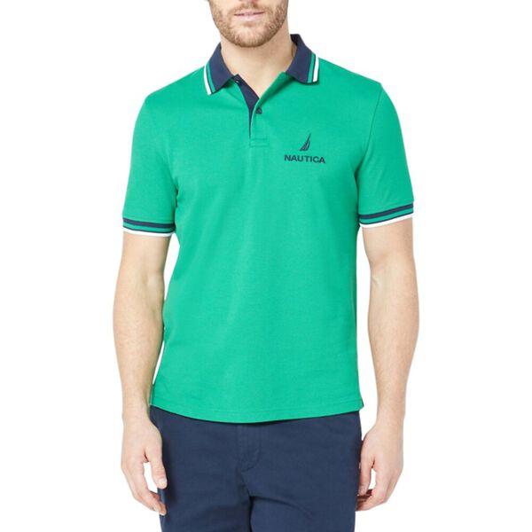 Solid Logo Polo Shirt, Cosmic Fern, hi-res