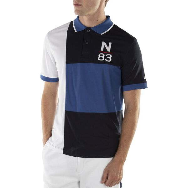 CLASSIC FIT PIECED N-83 PERFORMANCE POLO, WINDSURF BLUE, hi-res
