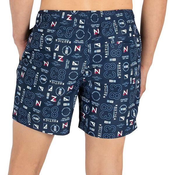 "Sustainably Crafted Nautica Print 6"" Swim Shorts, Navy, hi-res"