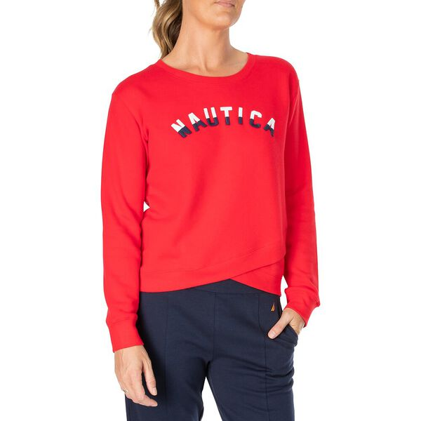 Cross Over Sweater, Bright Red, hi-res